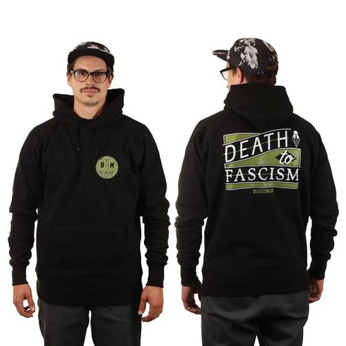 BLOODMASK Death to Fascism Hoodie Black Green