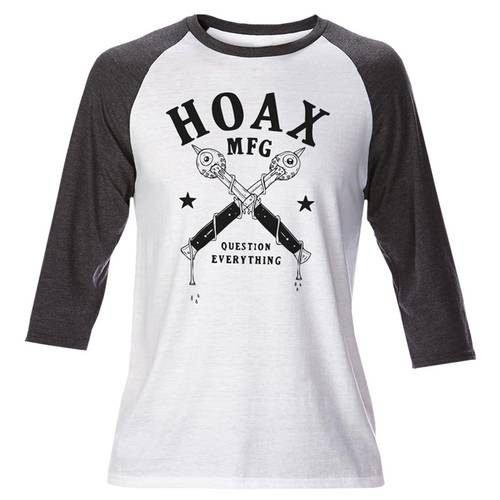 Hoax Question Everything Raglan White Grey
