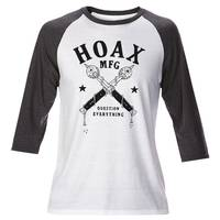 Hoax Question Everything Raglan White Grey L